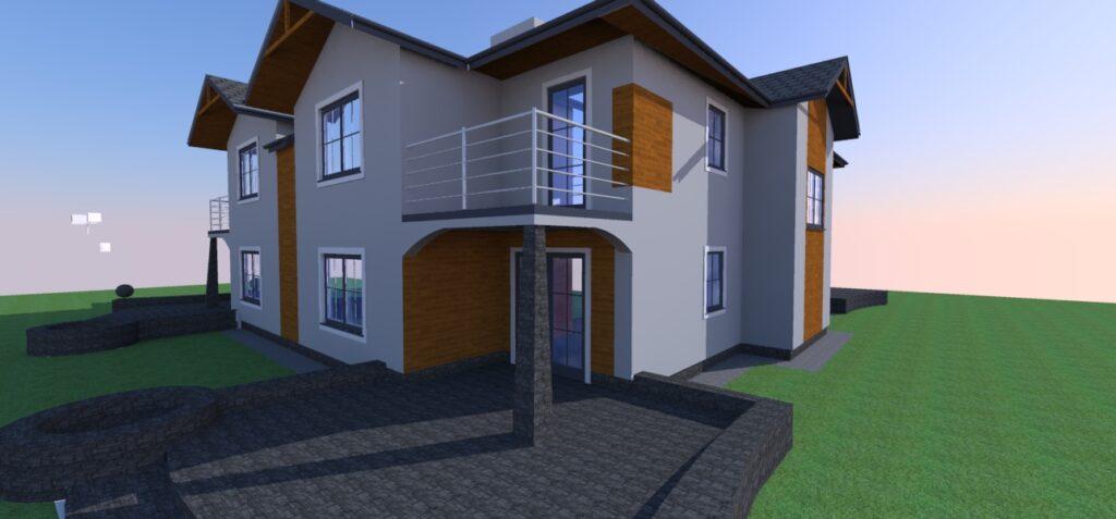 Projekt elewacji budynku mieszkalnego bliźniaczego